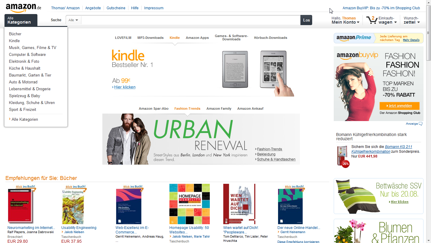 Amazon.de im neuen Design
