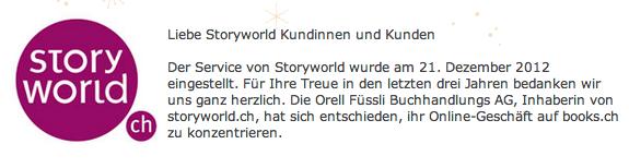 Storyworld.ch stellt Betrieb per heute ein – Orell Füssli nimmt seinen Discounter vom Markt