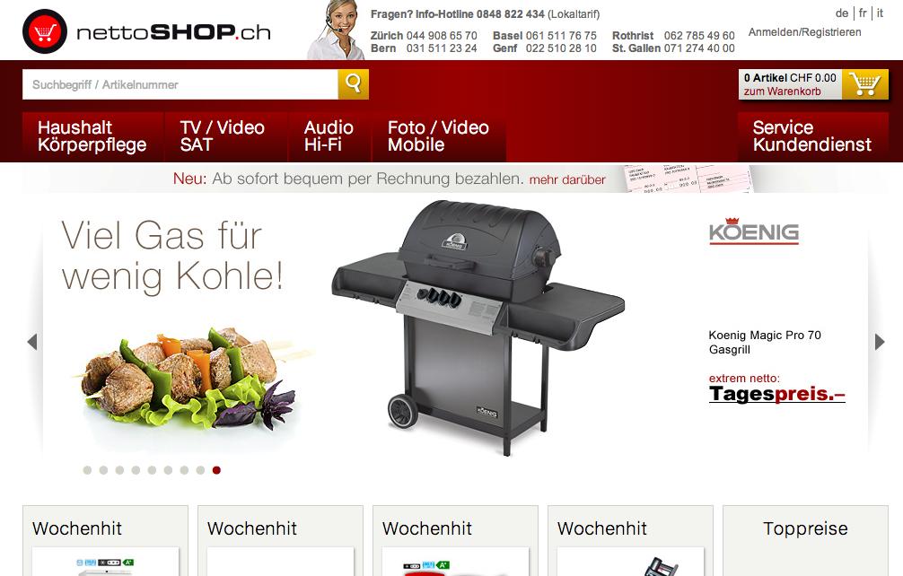 Auch nettoshop.ch lanciert neu