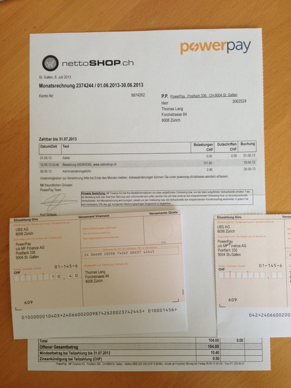 Rechnung von PowerPay (MF Finance AG) für Bestellung bei nettoshop.ch mit CHF 2.40 Administrationsgebühr, ohne Firmenname in der Adresse, ohne Bestellpositionen.