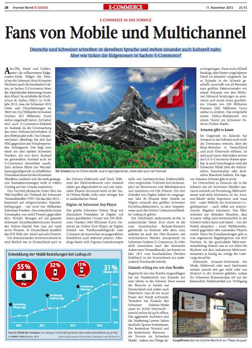 E-Commerce in der Schweiz - Internet World Business Nr. 28