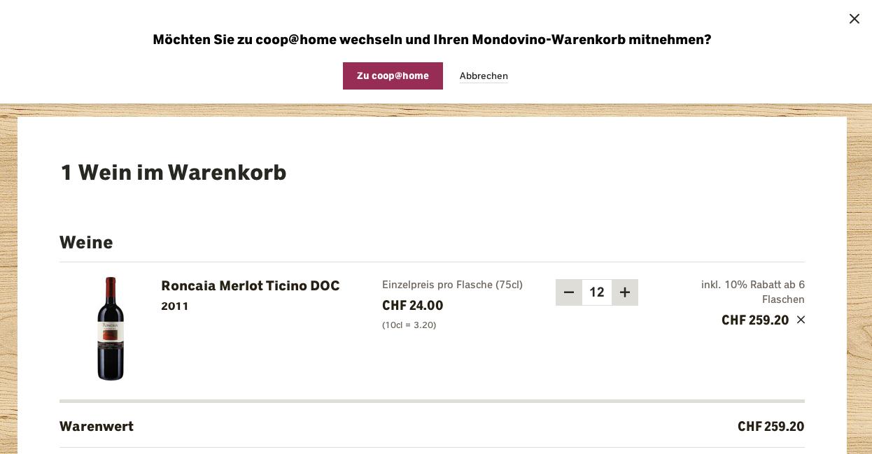 Mondovino Warenkorb kann zu Coop@Home transferiert werden im Checkout
