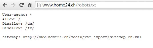 robots.txt Datei von home24.ch vom 20. Juli 2014 20:30