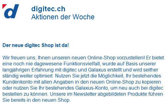Digitec informiert ihre Bestandskunden, ihr Konto in den neuen Shop zu kopieren.