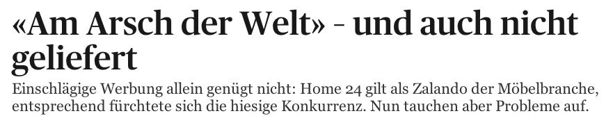 Headline im Tages-Anzeiger zu den Problemen bei Home 24 in der Schweiz
