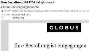 Kein Anschluss unter dieser Nummer: noreply@globus.ch