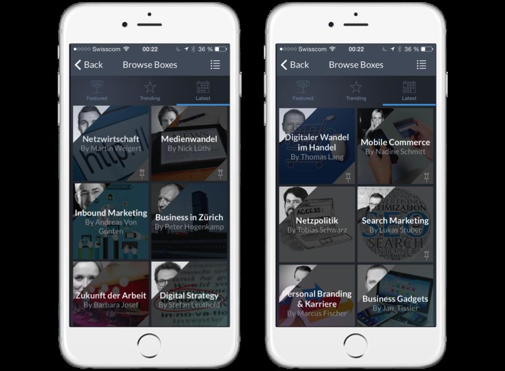 Auswahl der aktuellen kuratierten Themen / Boxen in der niu.ws App