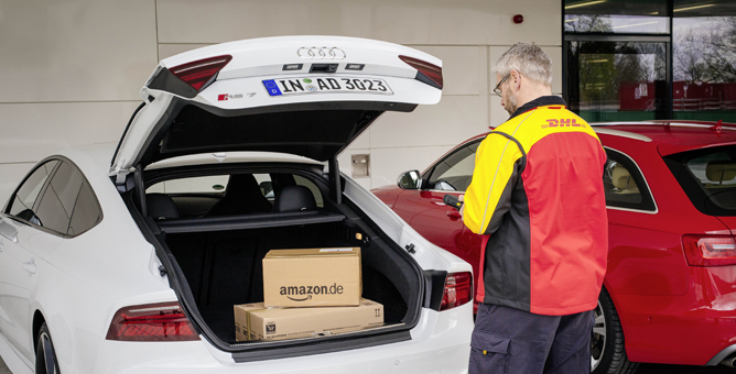 Paketzustellung in den Kofferraum- Pilotversuch von DHL, Amazon und Audi (Bild: DHL)