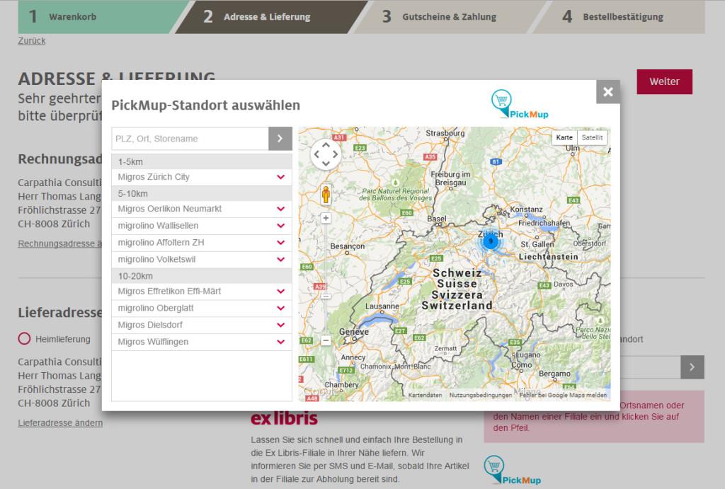 Checkout bei exlibris.ch mit Auswahl der PickMup Abholorte für PLZ 8008