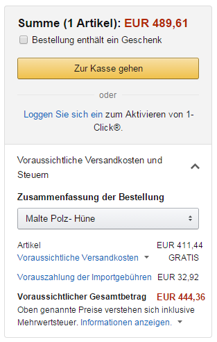 Amazon-Warenkorb-Notebook