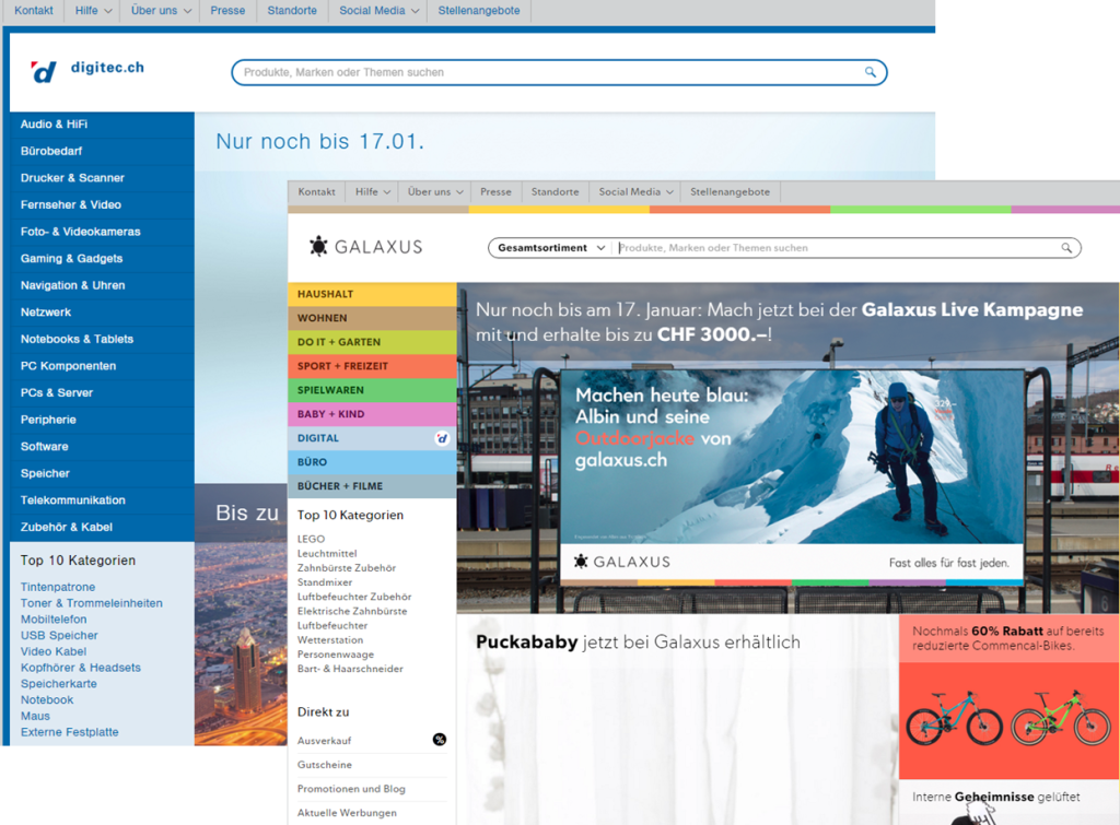 Screenshots digitec.ch und glaxus.ch
