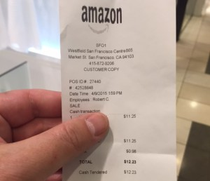 Amazon Quittung - PopUp Store Westfield Mall San Francisco, April 2015