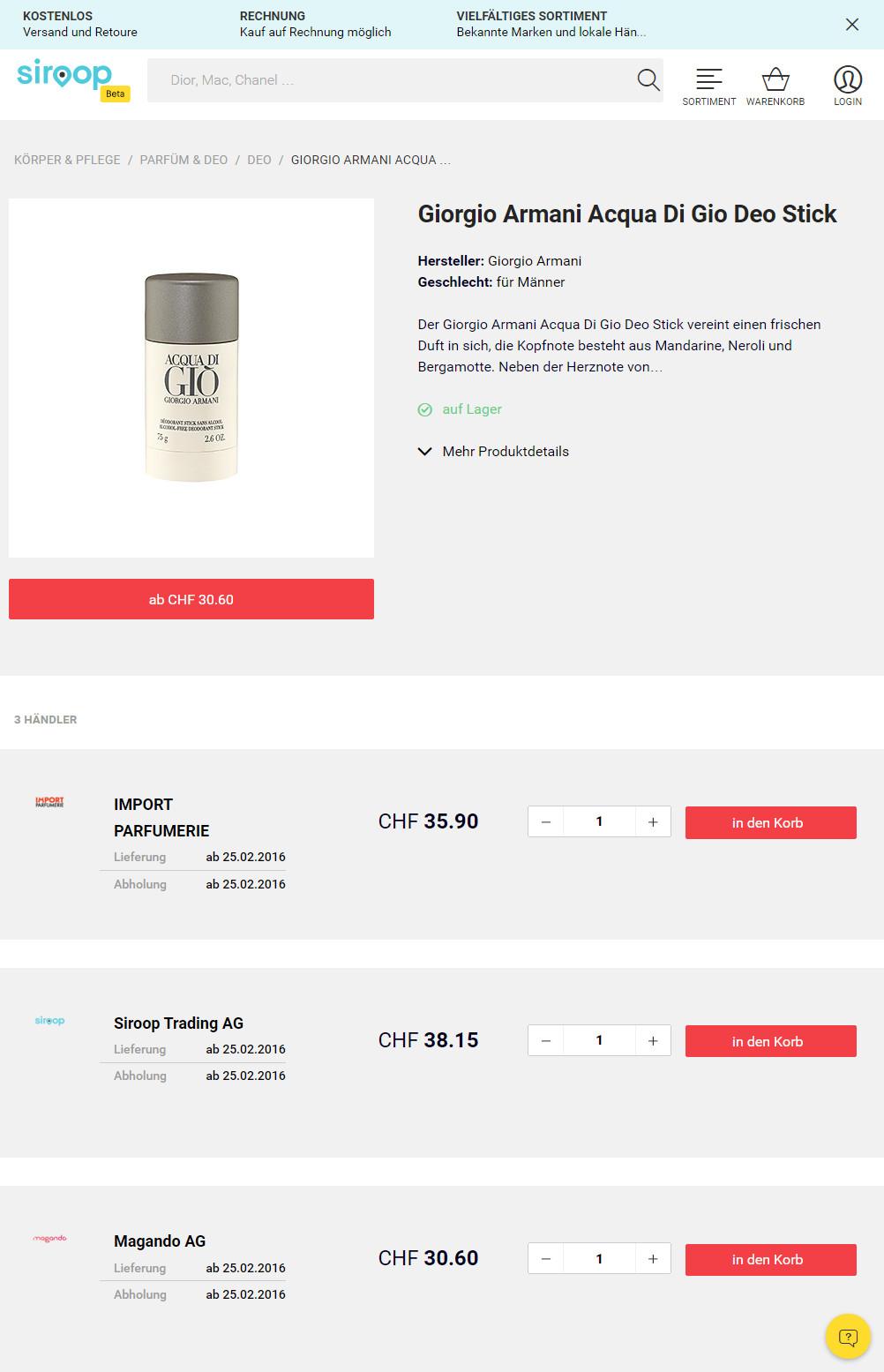 Siroop Produktpage