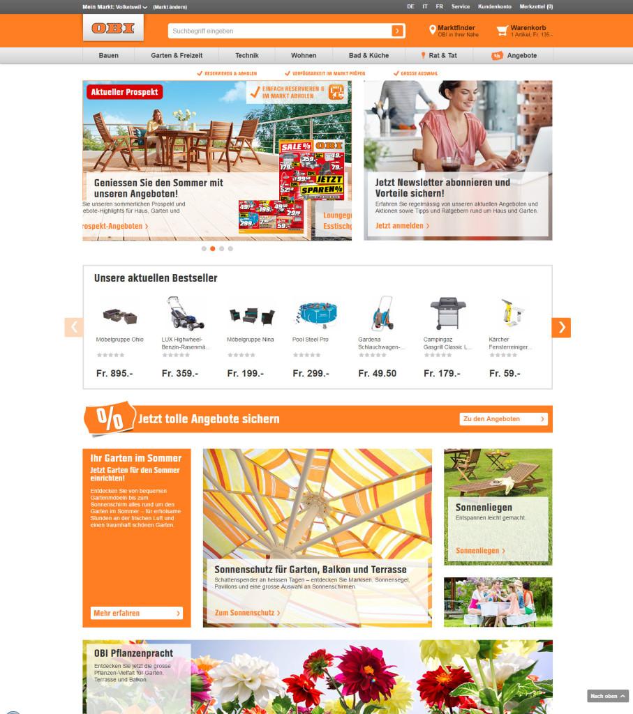 Startseite des neuen Onlineshops von OBI
