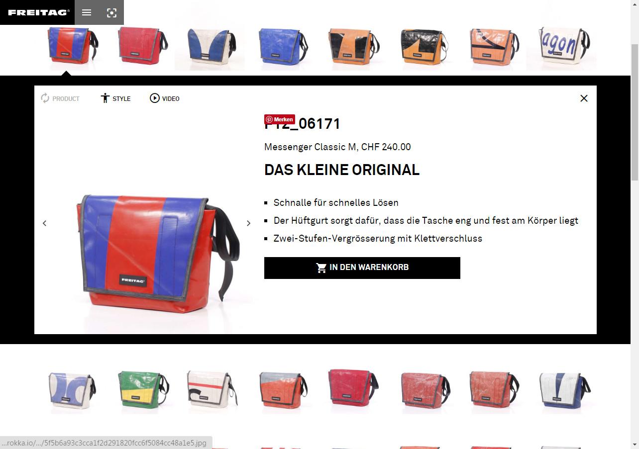 Produkt-Kategorien-Seite bei www.freitag.ch