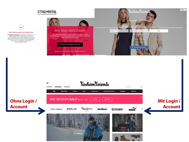 Zugang zu fashionfriends.ch - mit und ohne Login - unklare Strategie und Geschäftsmodell (Grafik: Carpathia)