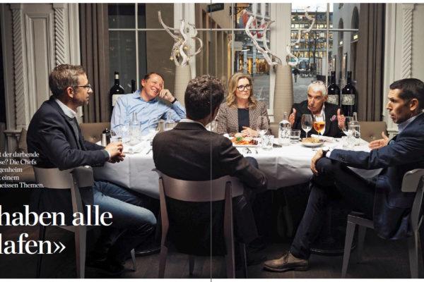 Diskussionsrunde zum Schweizer Modehandel mit Manuela Beer (CEO PKZ), Samy Bollag (CEO Bollag-Guggenheim), Thomas Herbert (CEO Globus-Gruppe) und Thomas Lang - Bild: HandelsZeitung