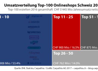 Umsatzverteilung Schweizer Top-100 Onlineshops 2017 - Quelle: EHI, Statista, Carpathia / Grafik: Carpathia AG 2017