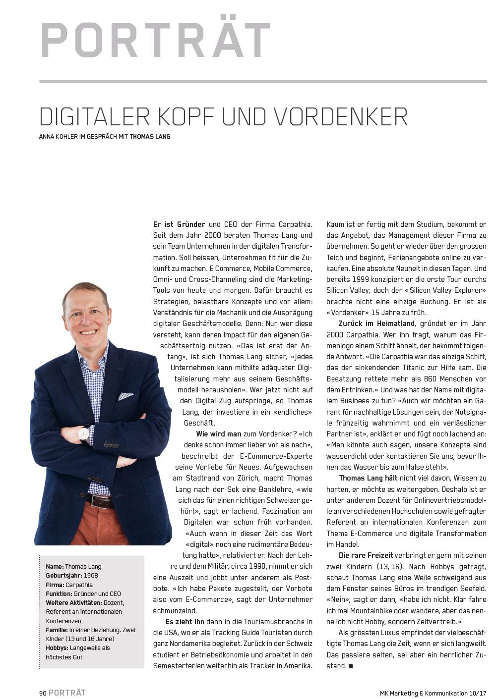 Porträt über den digitalen Kopf und Vordenker Thomas Lang in der Fachzeitschrift Marketing+Kommunikation - Foto: Boris Baldinger
