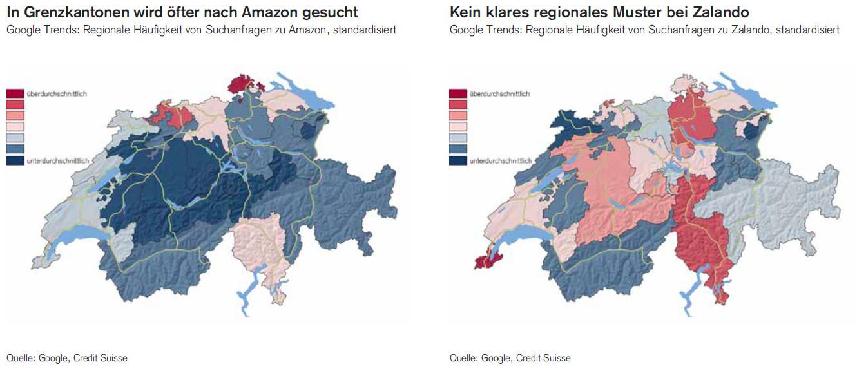 Google Trends: Regionale Häufigkeit von Suchanfragen zu Amazon und Zalando, standardisiert - Grafik: Credit Suisse