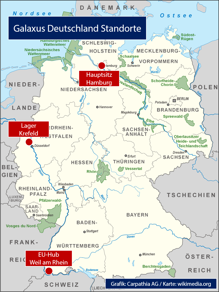 Standorte von Galaxus Deutschland - Grafik: Carpathia AG / Karte: wikimedia.org