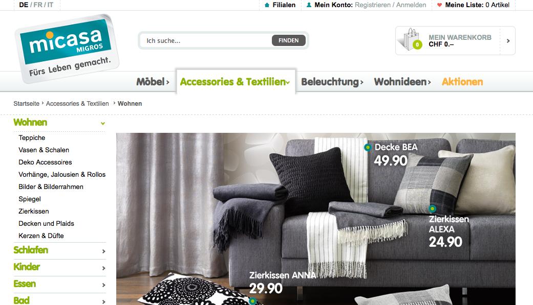 Micasach Der Online Möbelshop Der Migros Carpathia E Business