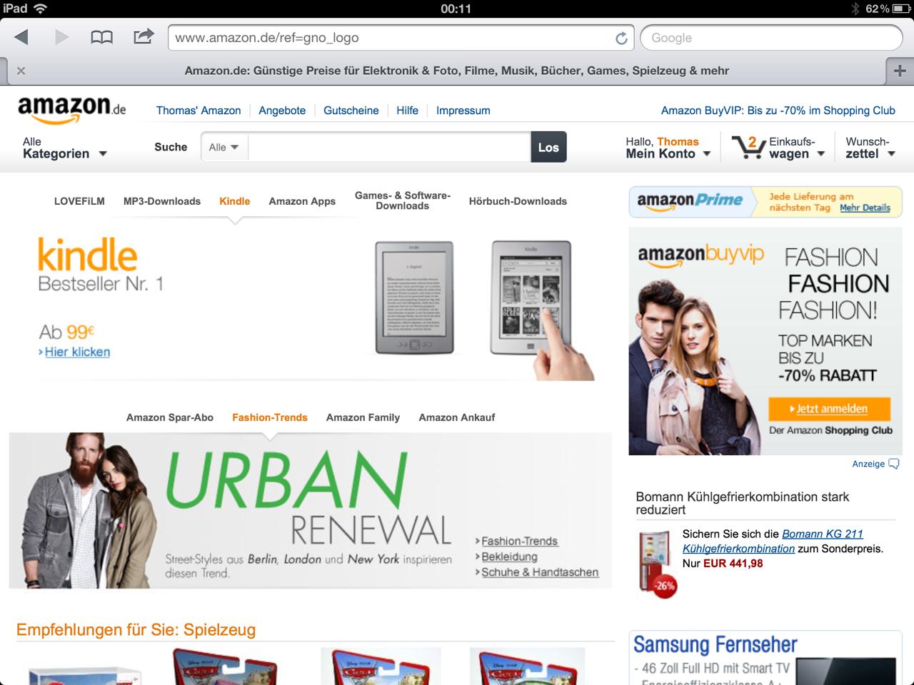 Amazon.de im neuen Look auf dem iPad