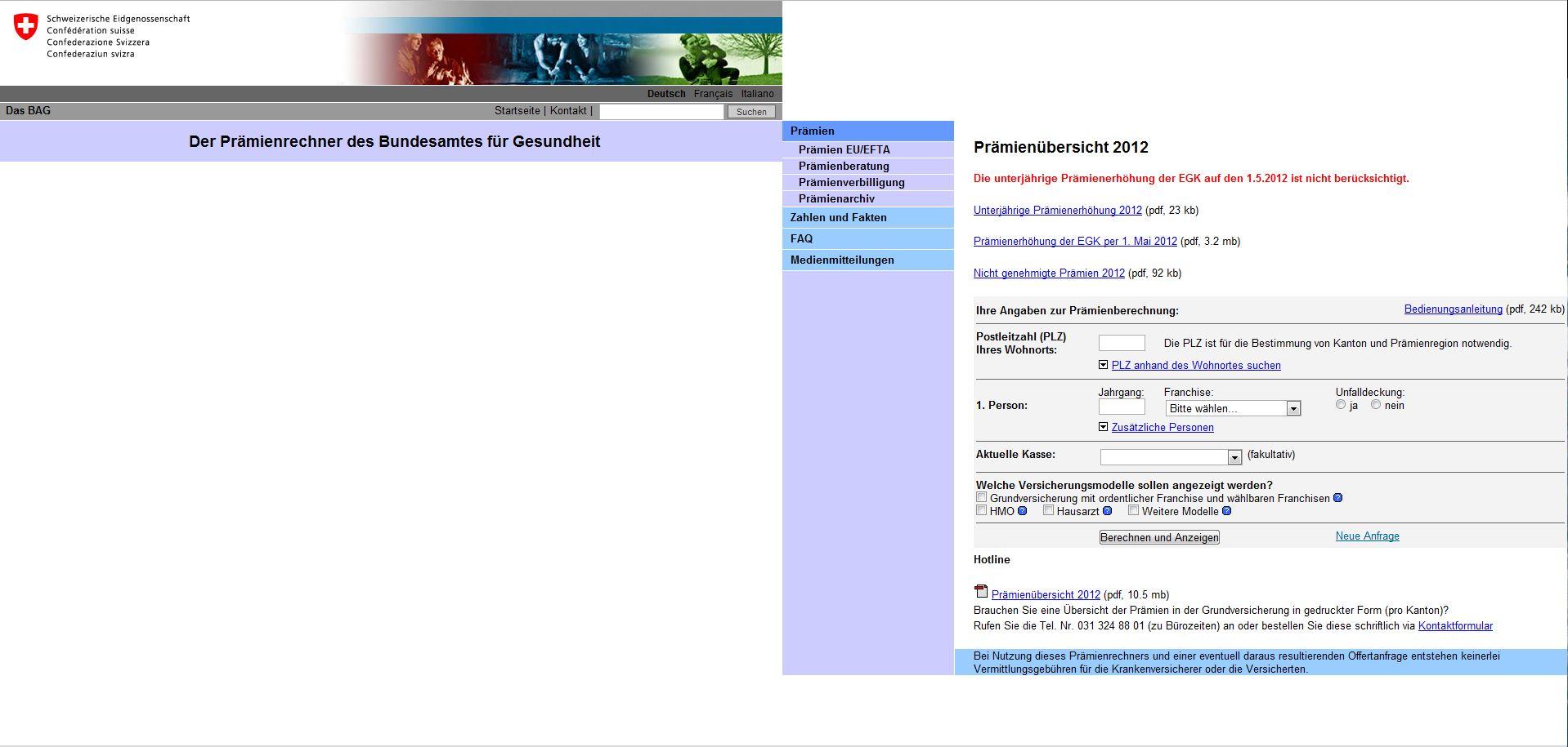 Screenshot von primo.ch