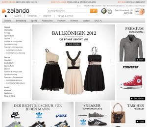 Startseite Zalando.ch Oktober 2012