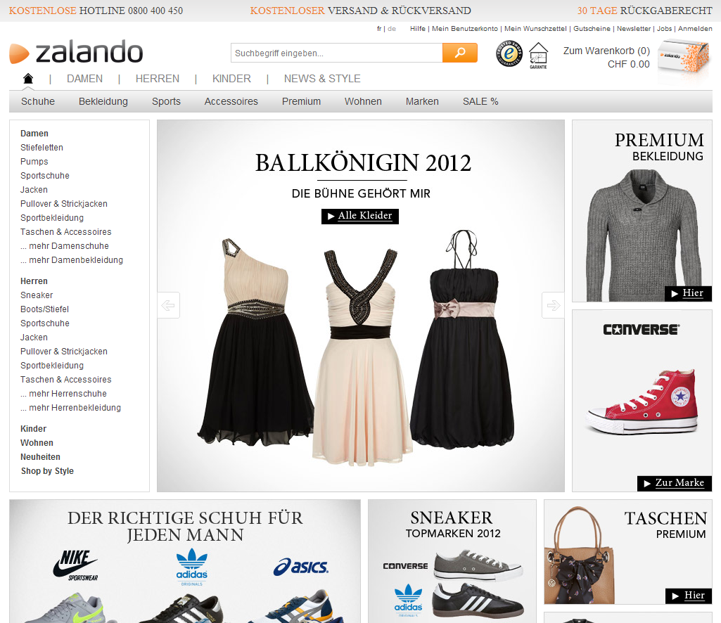 Rabatt Startseite Zalando.ch Oktober 2012 | Carpathia: E Business