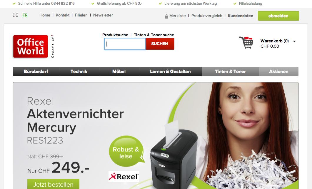officeworld.ch mit neuem Onlineshop