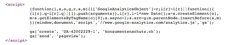 Datensammeln mit Google Analytics ohne Deklaration