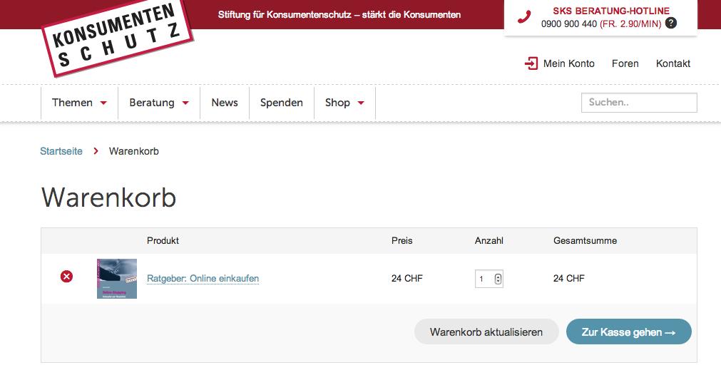 Onlineshop der Stiftung für Konsumentenschutz