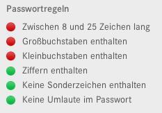 Passwort-Regeln für die Registration beim Mercedes Onlineshop