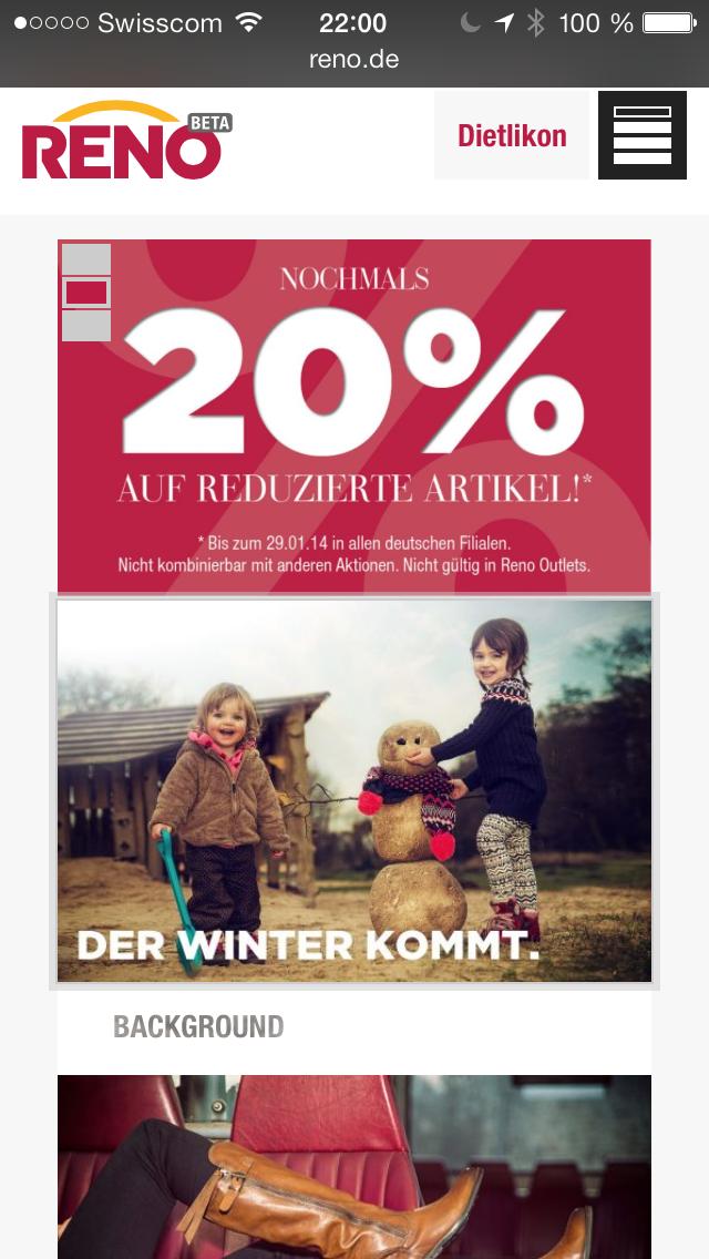 reno.de auf dem Mobile