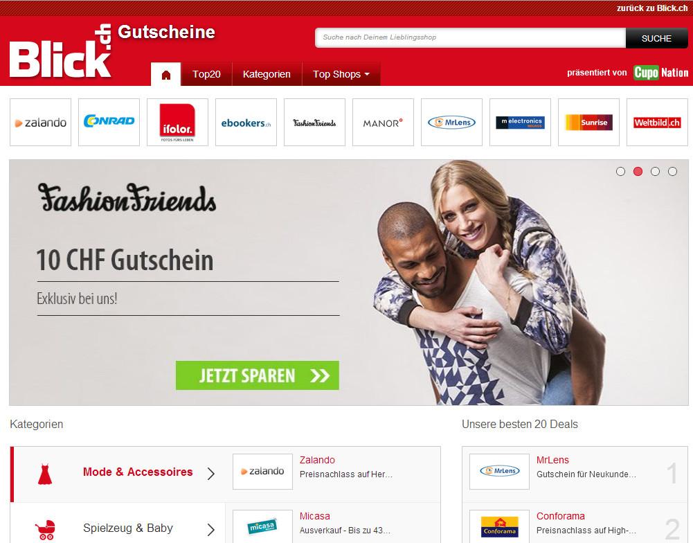 Gutscheinportal von Blick.ch