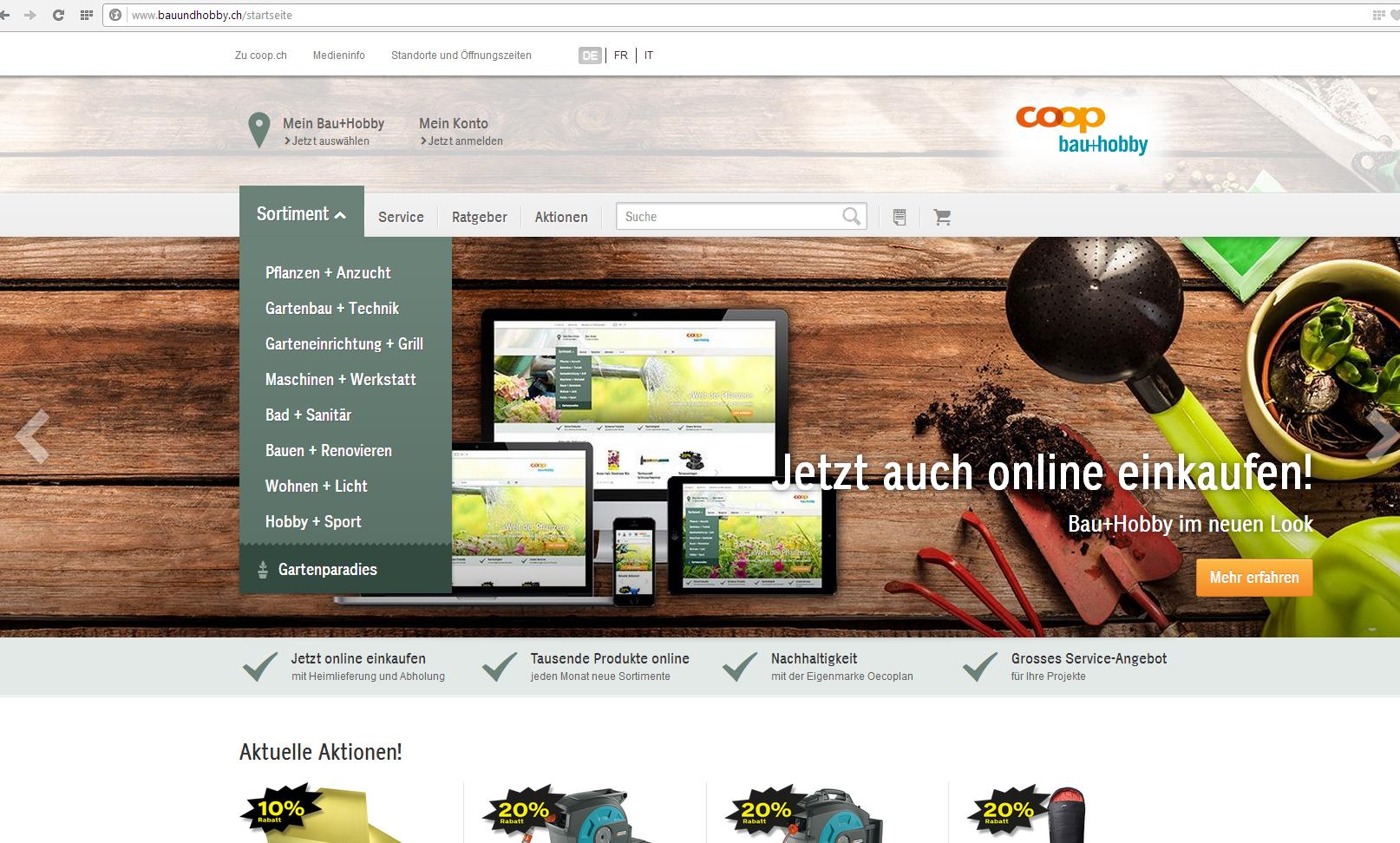 Baumarkt-Rallye: Coop Bau+Hobby startet den online Verkauf