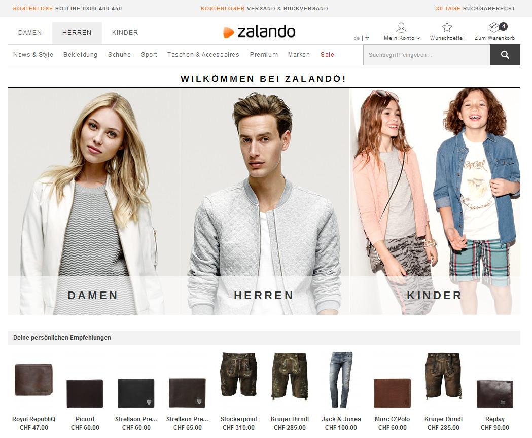 Übersichtlichere und entschlacktere Startseite von Zalando per Anfangs September 2014