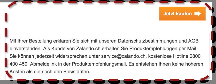 Zalando verzichtet auf AGB-Checkboxen im Checkout.