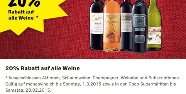 Beispiel: Wein Sonderangebote bei Coop - online gültig bis am Sonntag