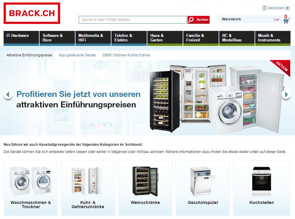 Haushaltsgrossgeräte bei Brack.ch