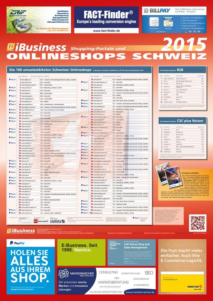 Die umsatzstärksten Schweizer Onlineshops 2015 - iBusiness