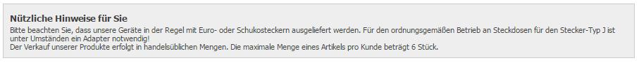 Hinweis bei Alternate.ch zu den Steckern