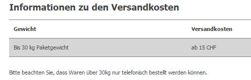 Versandkostenangabe bei Alternate.ch