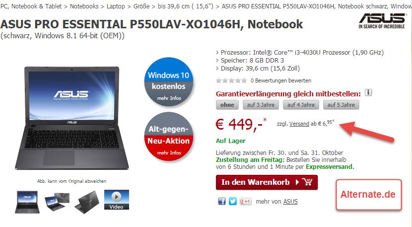 Alternate.de Buy Box mit Hinweis auf Versandkosten