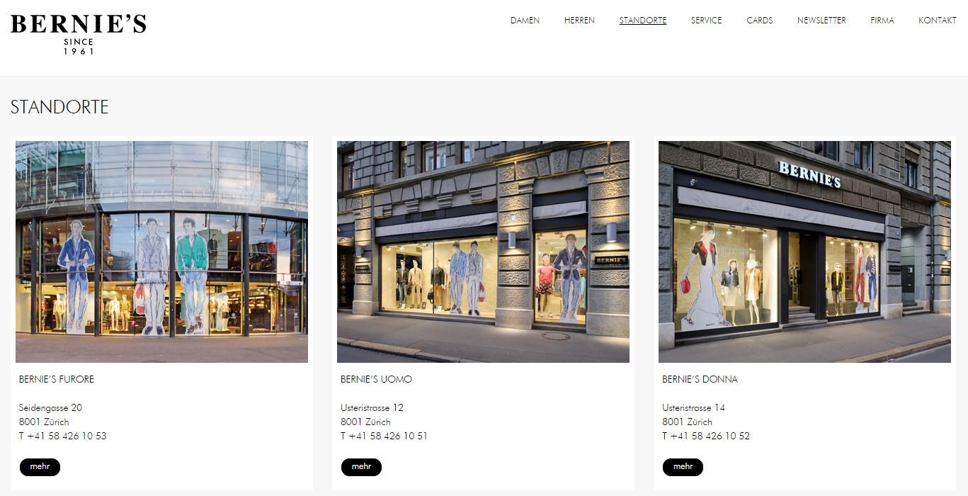 Standorte von Bernies in Zürich (3) und St. Gallen (1) - Quelle: bernies.ch