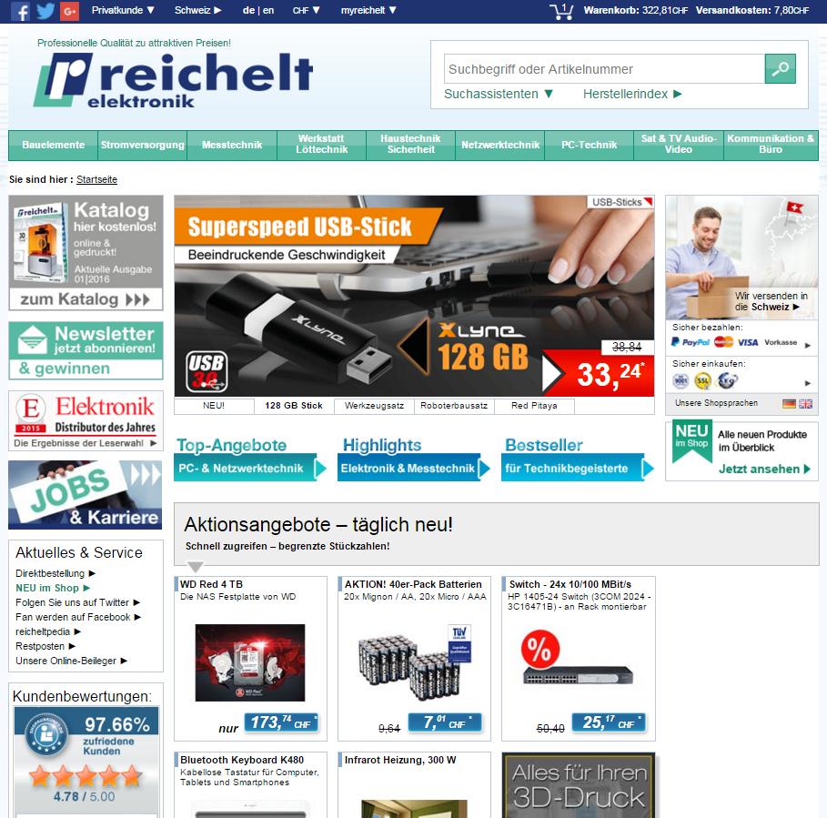 Reichelt.ch Startseite (Screenshot)