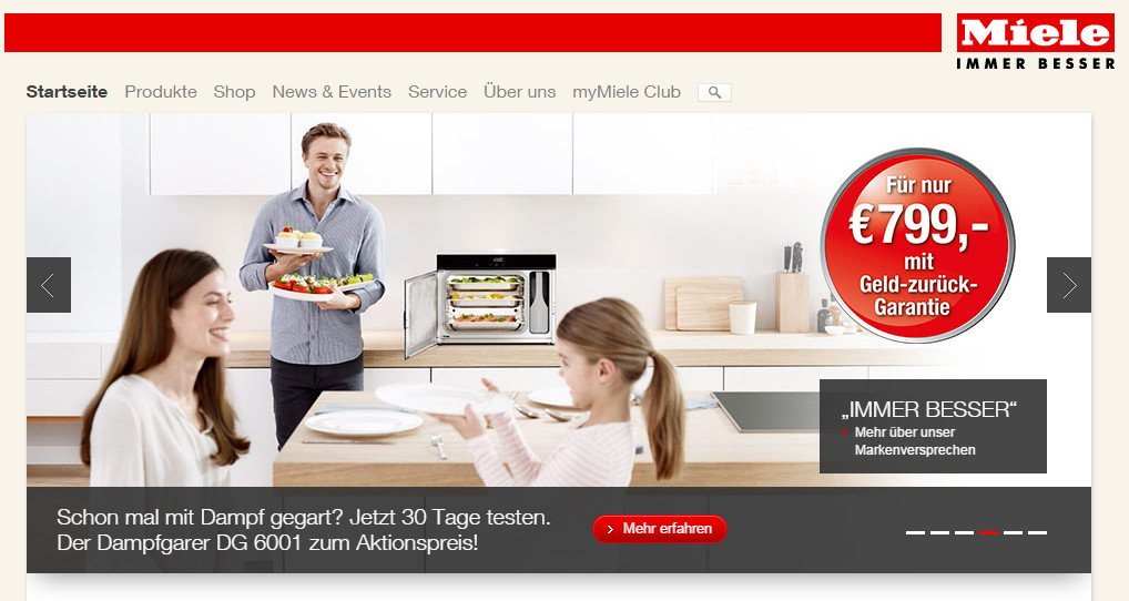 Startseite von miele.de