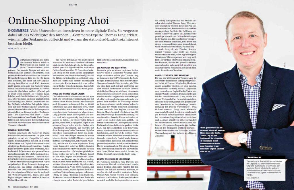 """""""Online-Shopping Ahoi"""" - UnternehmerZeitung Ausgabe 09-2016"""