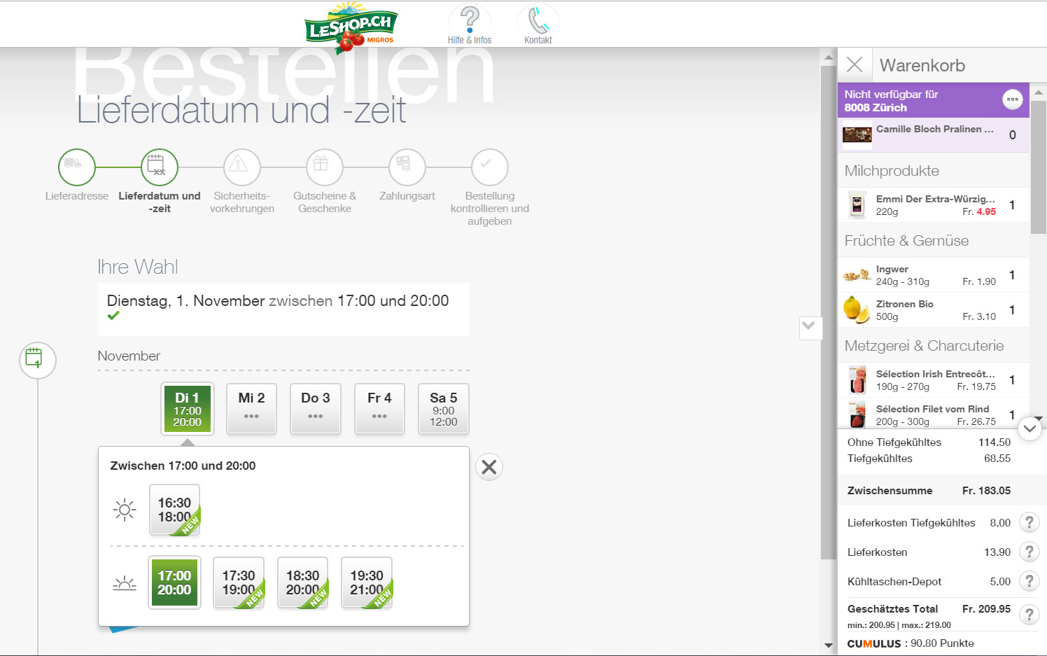 Im Checkout rsp. in der rechten Spalte zeigt sich die gesamte Komplexität der Logistik im Online-Lebensmittelhandel